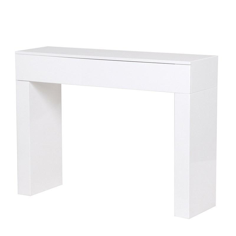 White console tables with drawers