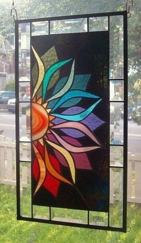 With Intensity Stained Gl Window Panel Signed And Dated