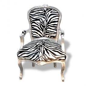 Exceptionnel Zebra Print Silver Frame French Arm Chair X 4 Fu