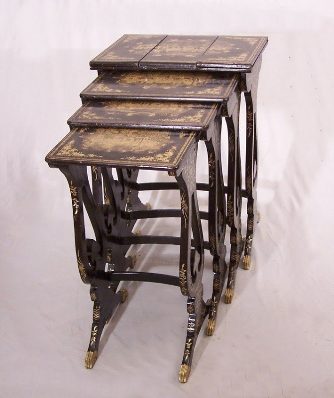 8764 Set Of Chinese Export Gilt Black Lacquer Nesting Tables