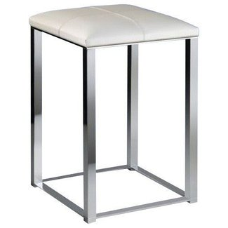 Bathroom stool with white leather top contemporary vanity stools and