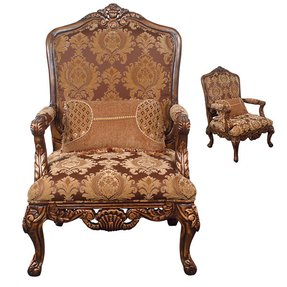 Beautiful carved wood upholstered arm chair with pillow new