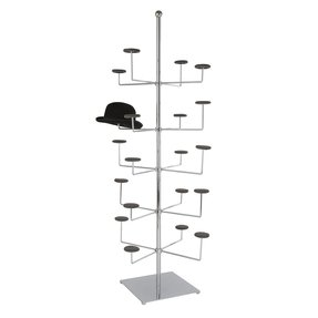 7856128374a Free standing steel chrome 5 tier hat rack display on