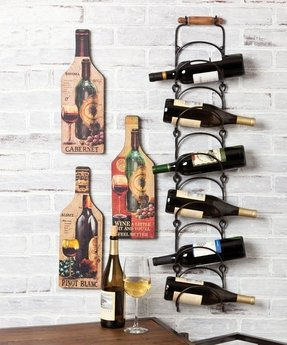 Metal hanging wine rack