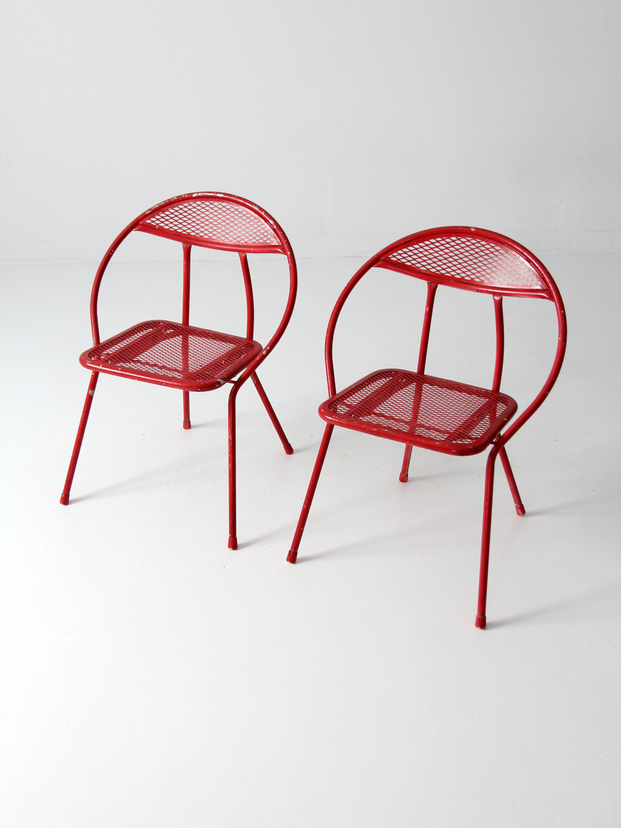 Mid century metal folding chairs