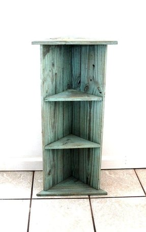 Reclaimed Wood Corner Shelf In Seafoam