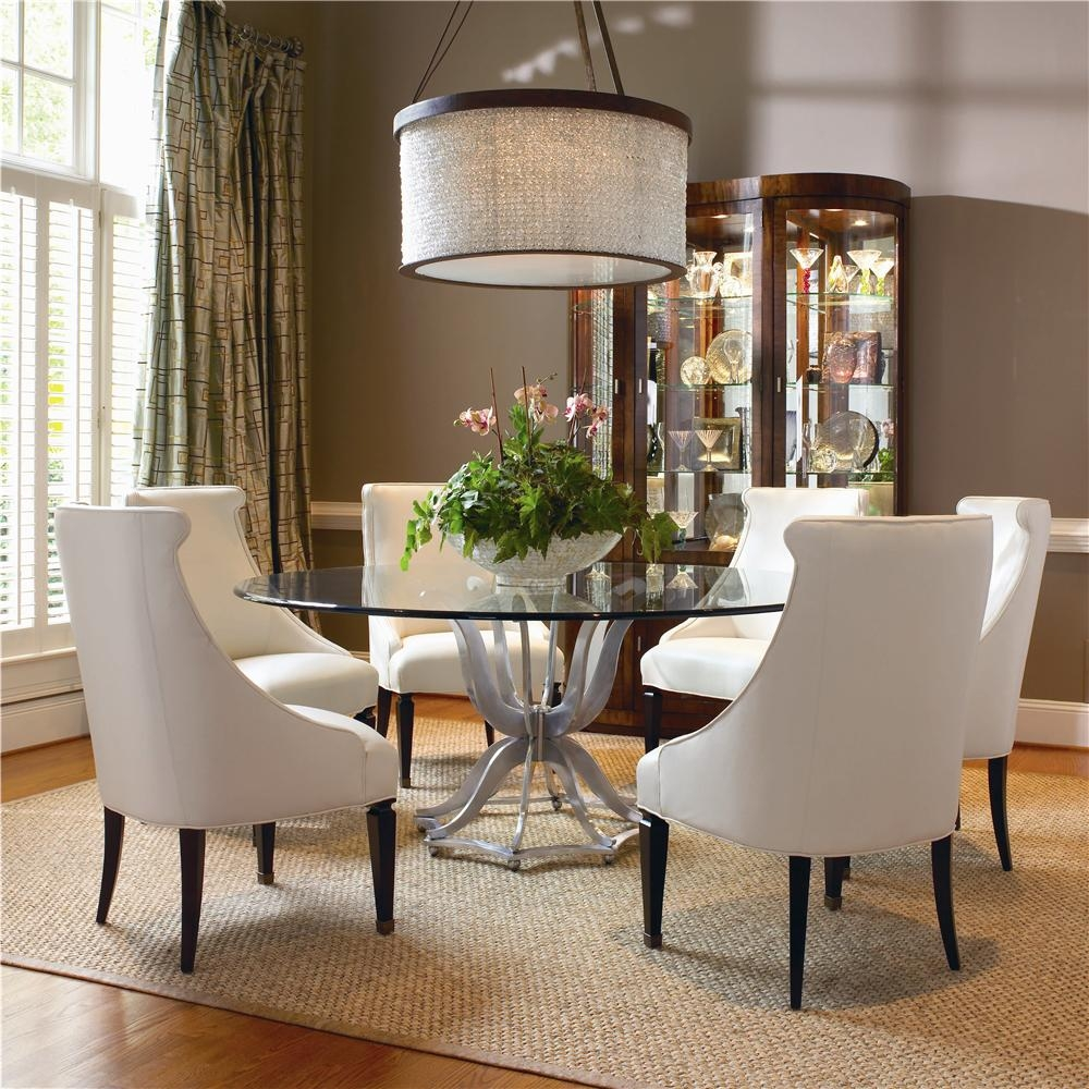 Charming Round Glass Dining Room Table Sets