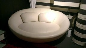 Round leather couch