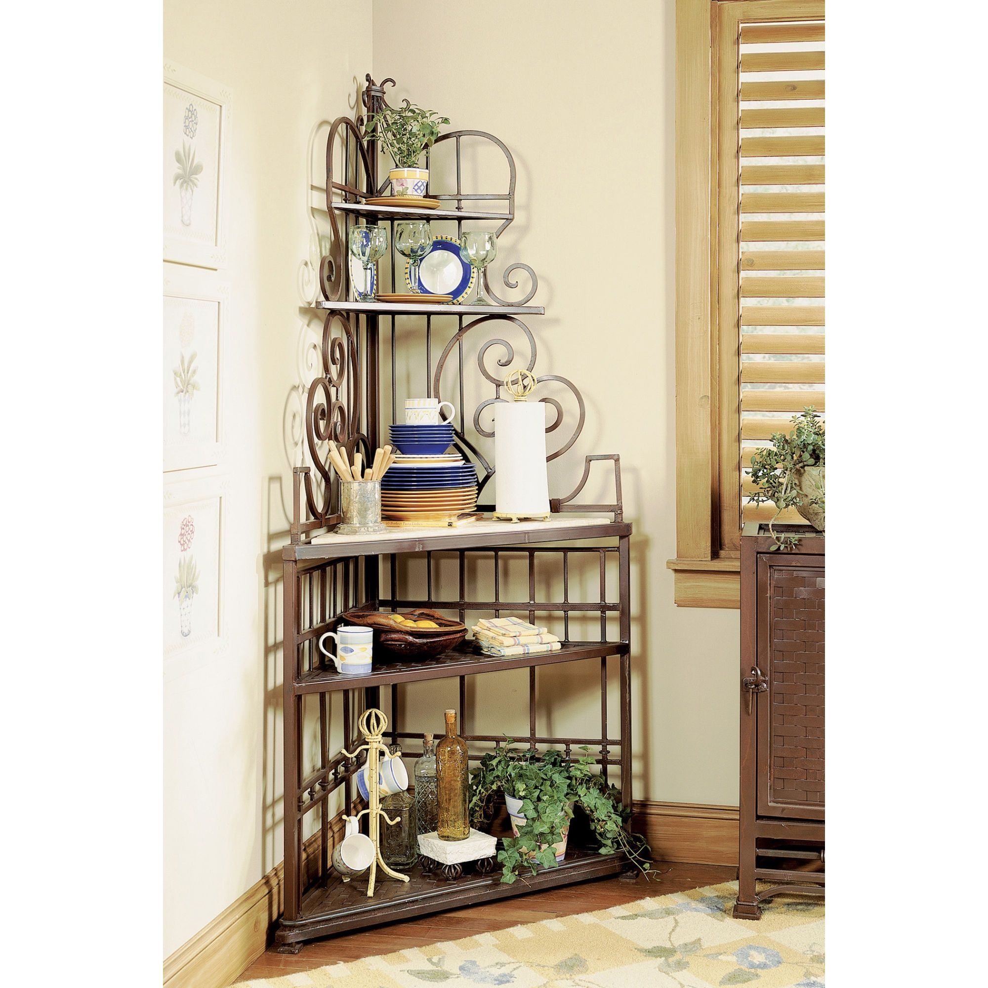 Attirant Scrolled Corner Bakers Rack 1