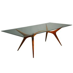 Sculpted exotic wood glass dining table scapinelli 1