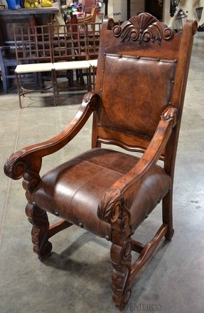 Wood carved arm chairs
