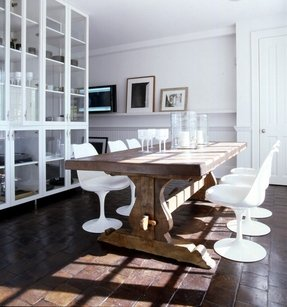 Wood glass dining table 1