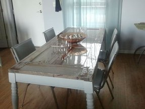 Wood glass dining table 2