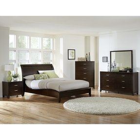 Bed with low headboard