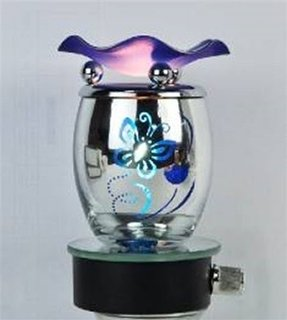 Blue and Silver Butterfly Design Decorative Glass Electric Plug-in Fragrance Lamp Aromatherapy Oil Warmer/burner Night Light in Gift Box # Mt-057 A