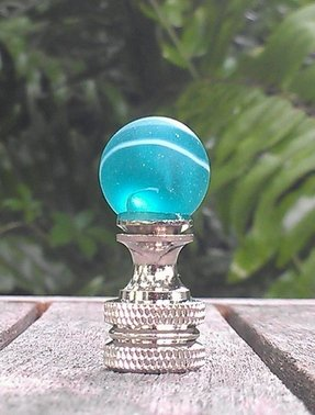 Lamp finial aqua blue green white swirls glass marble nickel