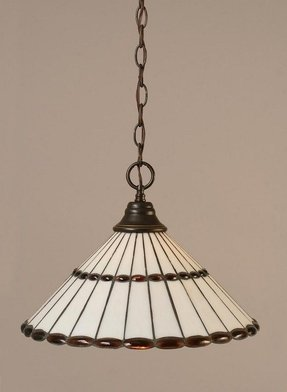 One Light Downlight Pendant with Honey Glass And Amber Jewels Tiffany Glass in Dark Granite
