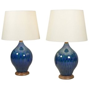 Pair of mottled blue glaze ceramic lamps