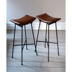 Pair of vintage french cafe saddle stools 4