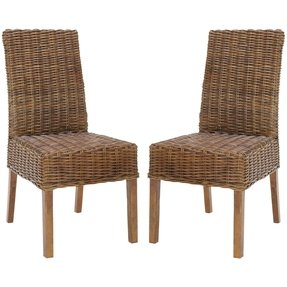 Safavieh st thomas indoor wicker dark brown side chairs set