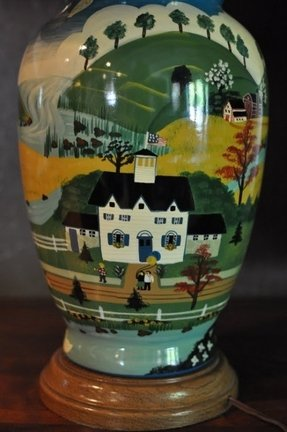 Vintage hand painted ceramic folk art lamp in the style