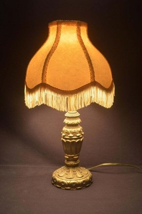 Antique cast metal table lamp