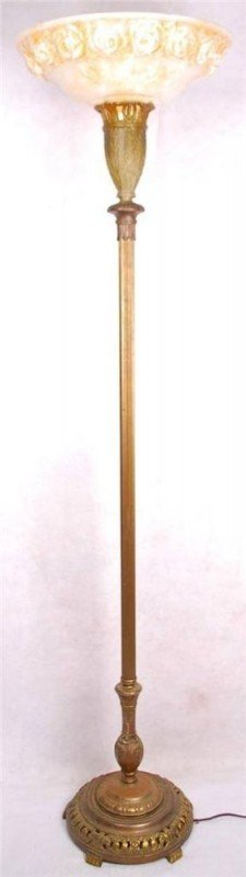 Antique vintage torch torchiere floor lamp art nouveau reading light
