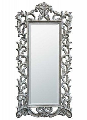 Baroque antique white floor standing bevelled mirror