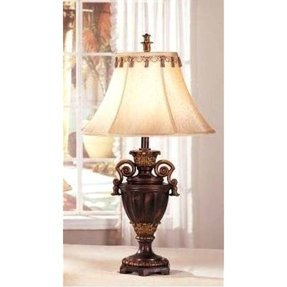 Bronze finish table lamps traditional set of 2 lamp shades