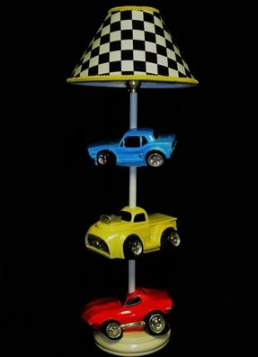 Car lamp hot rods race cars boys room