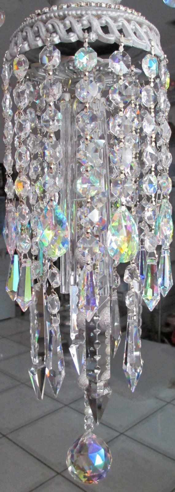 Crystal prism wind chime ab iridescent