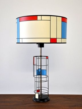 Mid century modern mondrian table lamp
