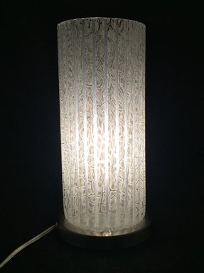 Mid century modern style frosted ribbed glass cylinder table lamp