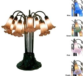 New warehouse of tiffany table lamp style lily glass table