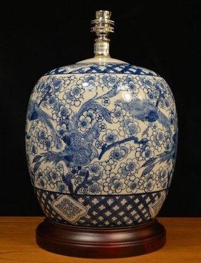 Oriental Blue White Porcelain Lamp Base On Dark Wood Plinth