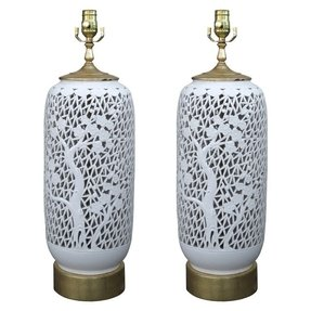 Pair of early 20th century reticulated oriental lamps on custom