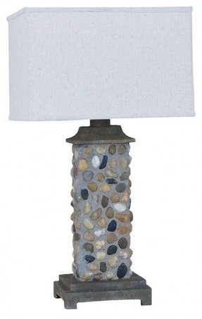 River rock lamps