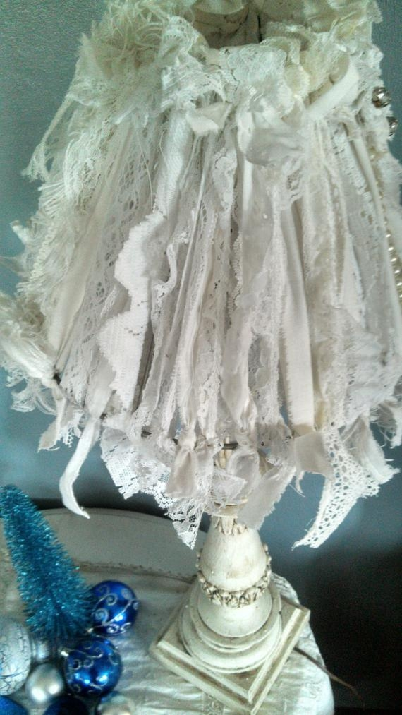 Shabby chic lamp shade white fabric