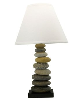 Stone rock cairn table lamp zen type decorative light fixture