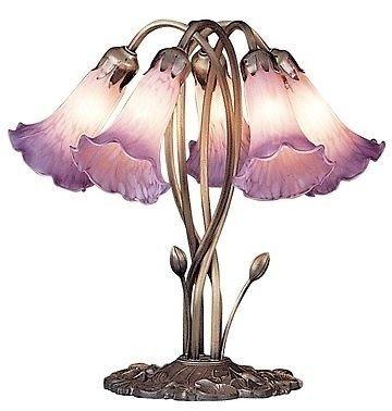 Tiffany Style Pink Fushia 5 Lite Lily Pond Table Lamp