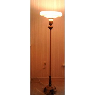 Torchiere vintage antique floor lamp with unique original glass shade