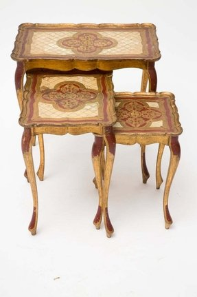 Venetian set of painted nesting tables jean marc fray french