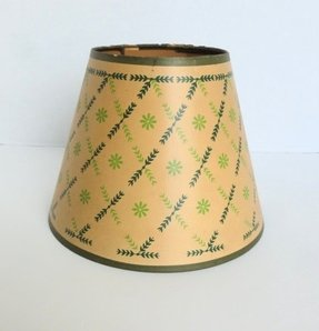 Parchment lamp shades foter vintage mid century green floral paper parchment lamp shade clip aloadofball Images