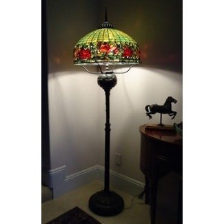 Vintage Tiffany Style Reproduction Floor Lamp Peony Border Heavy Oil