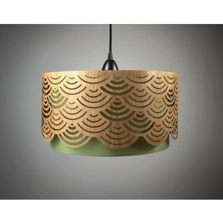 Lampshade made of wood with cut outs