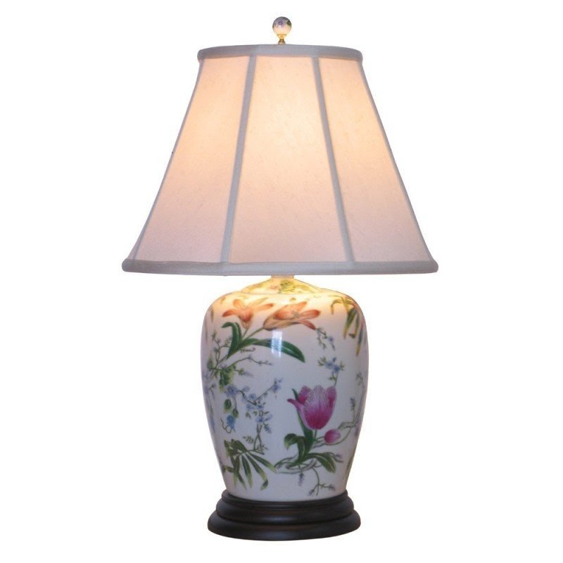Oriental Furniture Porcelain Lily 25 H Table Lamp With Empire Shade