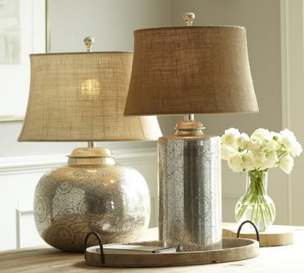 Pierce Hammered Metal Bedside Lamp