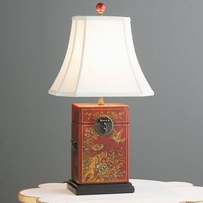 Red leather oriental table lamp