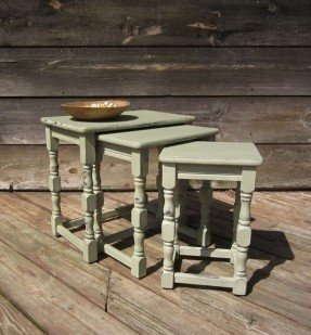 Shabby chic tables nest tables green table coffee table