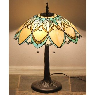 Tiffany sty stained glass art deco lamp golden daze w